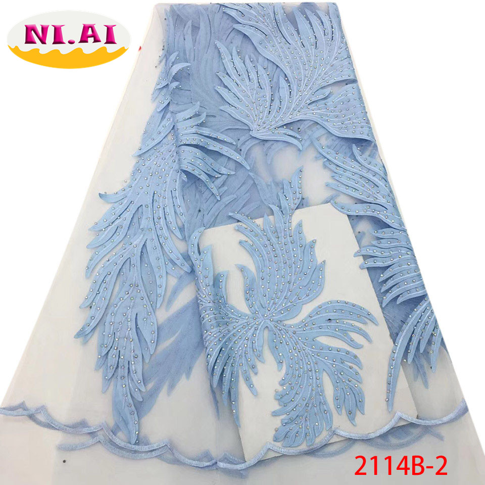 2018 Latest Design African Tulle Lace Fabric With Stones High Quality French Net Lace Fabric For
