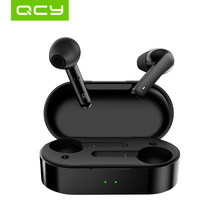 QCY T3 TWS Fingerprint Touch Wireless Headphones Bluetooth V5.0 3D Stereo Dual-Mic Noise cancelling earphones(China)