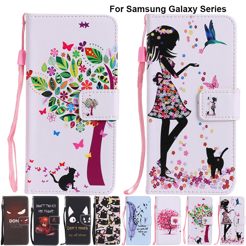 B128 PU Leather Case For Samsung Galaxy J1 2016 J3 Emerge J5 J7 Prime A3 A5 2017 A7 A9 S7 Edge S8 Plus Note 7 Stand Funda Cover