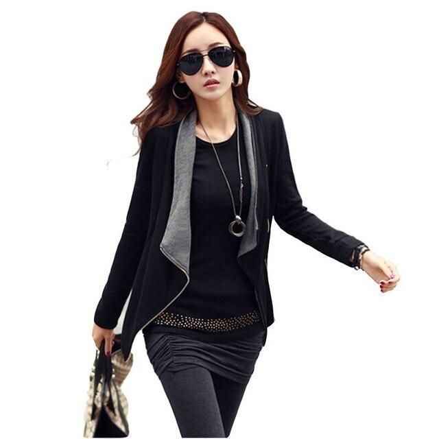 Женская одежда женщин куртка 2016 черный молния длинный рукав Куртки Смешанные цвета дикие случайные стороны молнии куртки