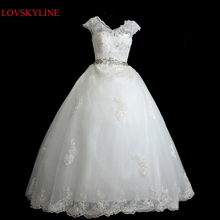 2017 de la novia más tamaño Atan para arriba del doble-hombro vestido de novia de hendidura con cuello en v de verano