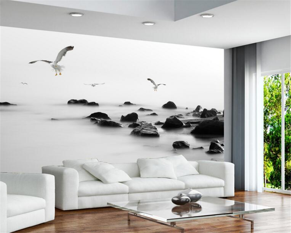 Beibehang Black and white seagull background 3d wallpaper photo home ...