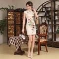 Новое Прибытие Элегантный Китайский Платье Женщины Короткие Тонкий Цветочный Узор Cheongsam Китайский Свадебное Платье Партии Вечернее Платье 18