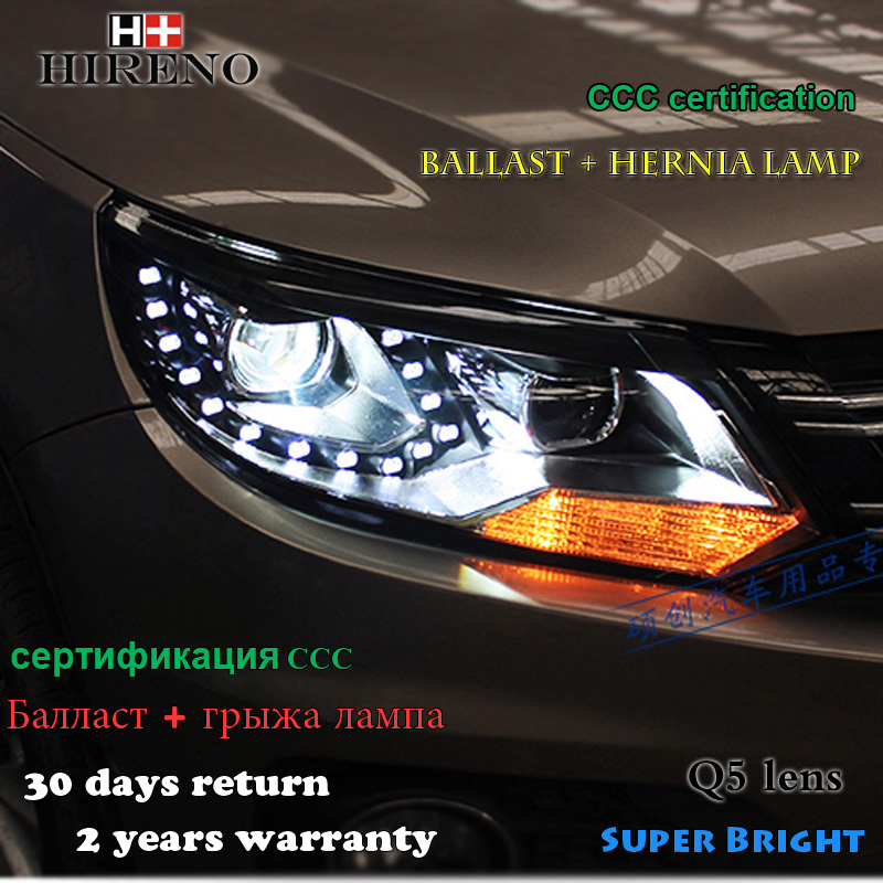 Hireno Headlamp for 2009-2016 Volkswagen Tiguan Headlight Assembly LED DRL Angel Lens Double Beam HID Xenon 2pcs hireno headlamp for 2013 2015 nissan tiida headlight assembly led drl angel lens double beam hid xenon 2pcs
