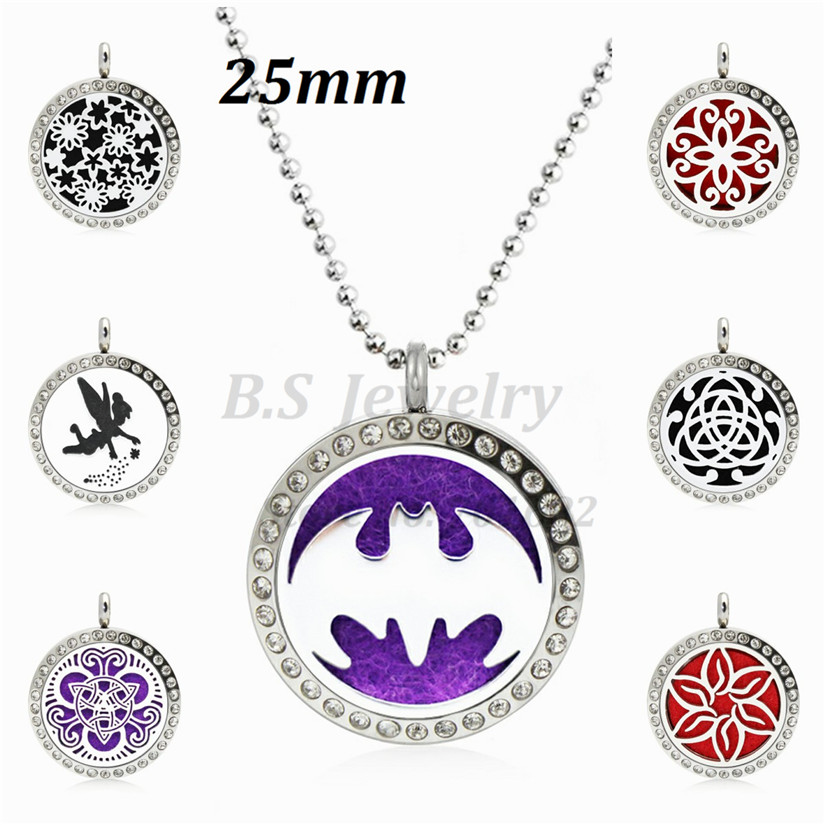 Bat 25mm Diffuser 316L Stainless Steel Necklace Pendant Aroma Essential Oil Diffuser Locket