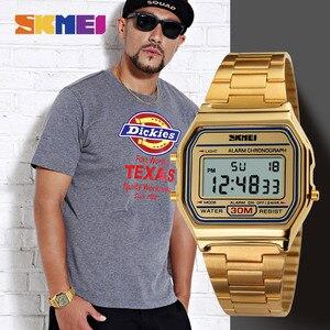 Image 3 - SKMEI montre de Sport pour hommes, bracelet en acier inoxydable, affichage, 3 bars, montre numérique étanche, décontracté, LED