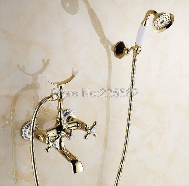 Fashion Golden Brass Porcelain Base Wall Mounted Bathroom Tub Shower Faucet Set Dual Handle Mixer Tap + Handheld Shower ltf141Fashion Golden Brass Porcelain Base Wall Mounted Bathroom Tub Shower Faucet Set Dual Handle Mixer Tap + Handheld Shower ltf141