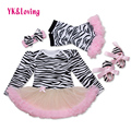 Zebra Baby Romper for Girls Cotton Clothing Set Fashion Infant Patchwork Tutu Dress Newborn Dresses 2017 New Children Wear F2008