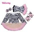 Zebra romper do bebê para meninas clothing set moda infantil patchwork vestido tutu vestidos de recém-nascidos de algodão 2017 novas crianças usam f2008