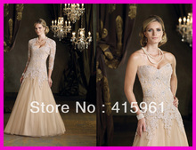 Champagne Beaded Lace Long Sleeves Mother of the Bride Gowns With Jacket M564