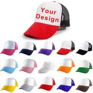 Customized Print Hat Women's Girl's DIY Photo Logo Brand Polyester Baseball Cap Blank Mesh Adjustable Men Boy's Casual Kid's(China)