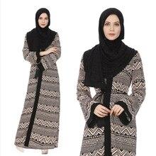 Casual Muslim Print Jubah Ramadan Arab Middle East Islamic Clothing Maxi Abaya Full Dress Loose Style Long Robe Gowns Kimono