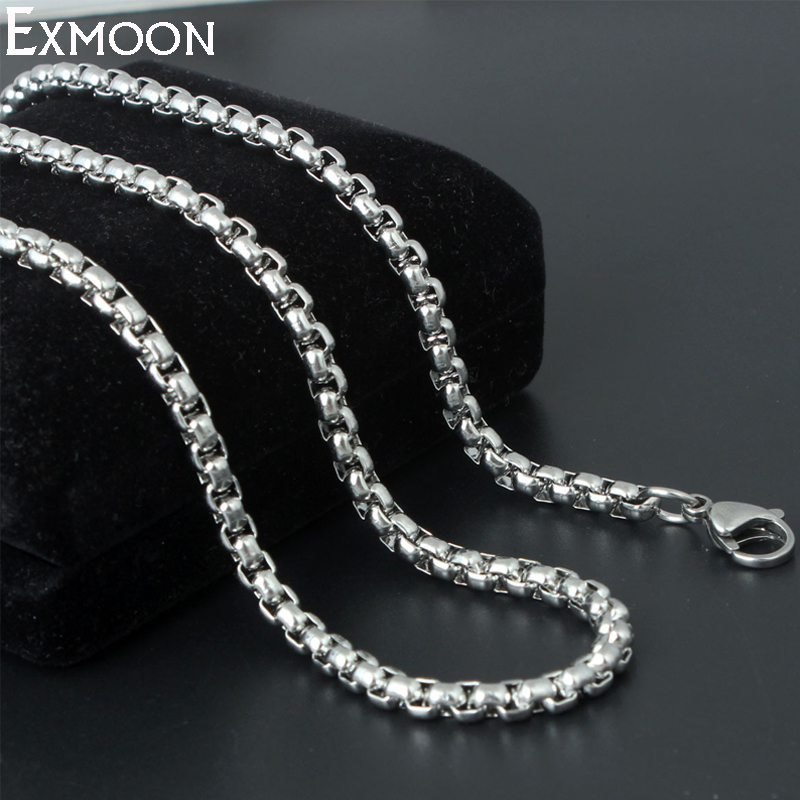 EX-MOON New Brand Classic Stainless Steel Metal Necklace Jewelry Mens Silver Color 3mm/4mm Wide Box Chain Necklace Collares