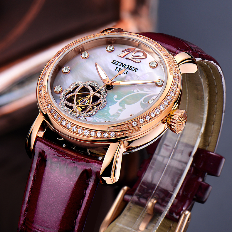 Japan MIYOTA Automatic Watches BINGER Brand Women Mechanical Watch Female Form Queen Series Rose Gold Waterproof Diamond 2017 top brand binger fashion casual watch female form hollow automatic mechanical watches self winding women waterproof leather