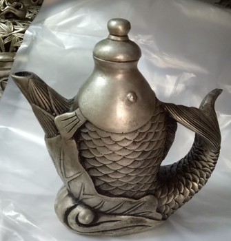Antique bronze art antique bronze art ornaments of pure copper bronze fish shaped teapot