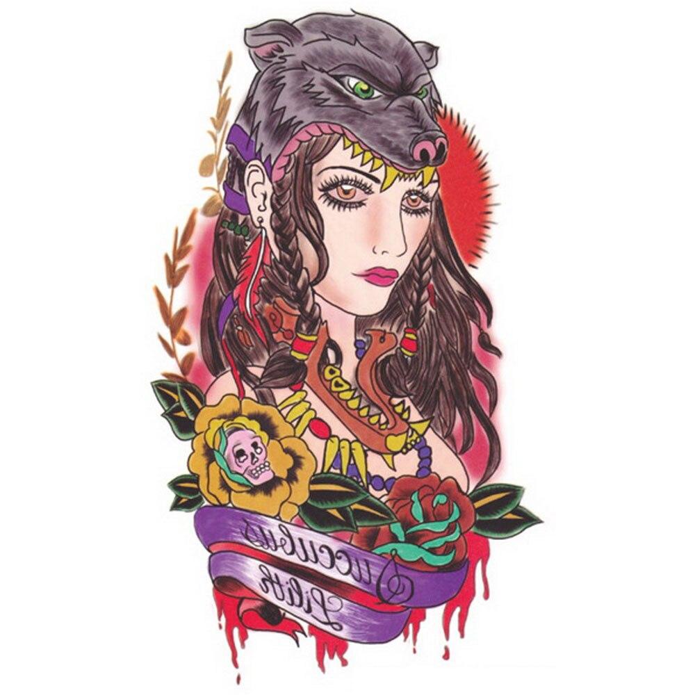 Tribal-Tattoos Yeeech-Temporary-font-b-Tattoos-b-font-Sticker-For-Women-Arm-Large-Fake-Transfer-Wolf-font
