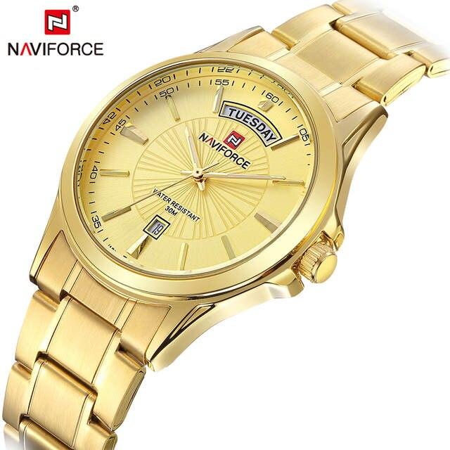 969b75b087d placeholder Naviforce marca de topo relógios homens cinta de aço inoxidável  banhado a ouro de luxo moda