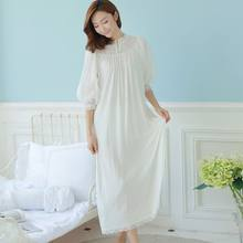 3cf4ac7902 CFYH Spring Autumn Vintage Nightgowns Ladies Dresses Princess White Sexy  Sleepwear Solid Lace Home Dress Comfortable Nightdress