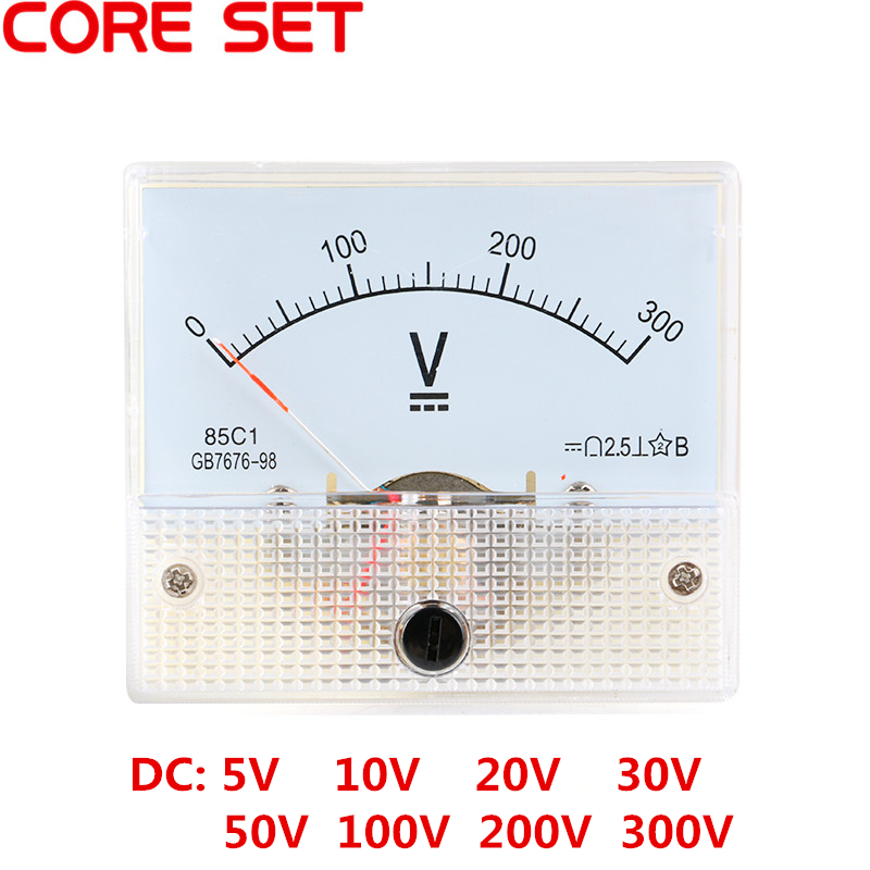 85C1 DC Analog Pointer Voltage Meter Panel 5V 10V 15V 20V 30V 50V 100V 200V 300V Gauge Voltage Mechanical Voltage Meters цена