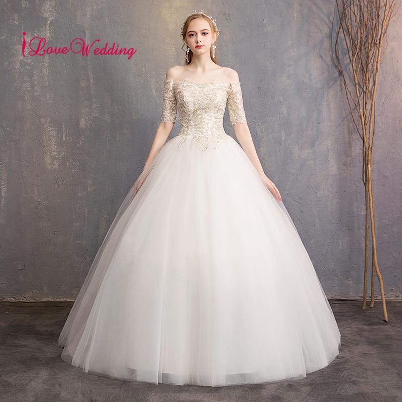New Arrival 2019 Boat Neck Lace Applique Custom made Half Sleeves Ball Gown Vestido de noiva Sexy Wedding Dresses
