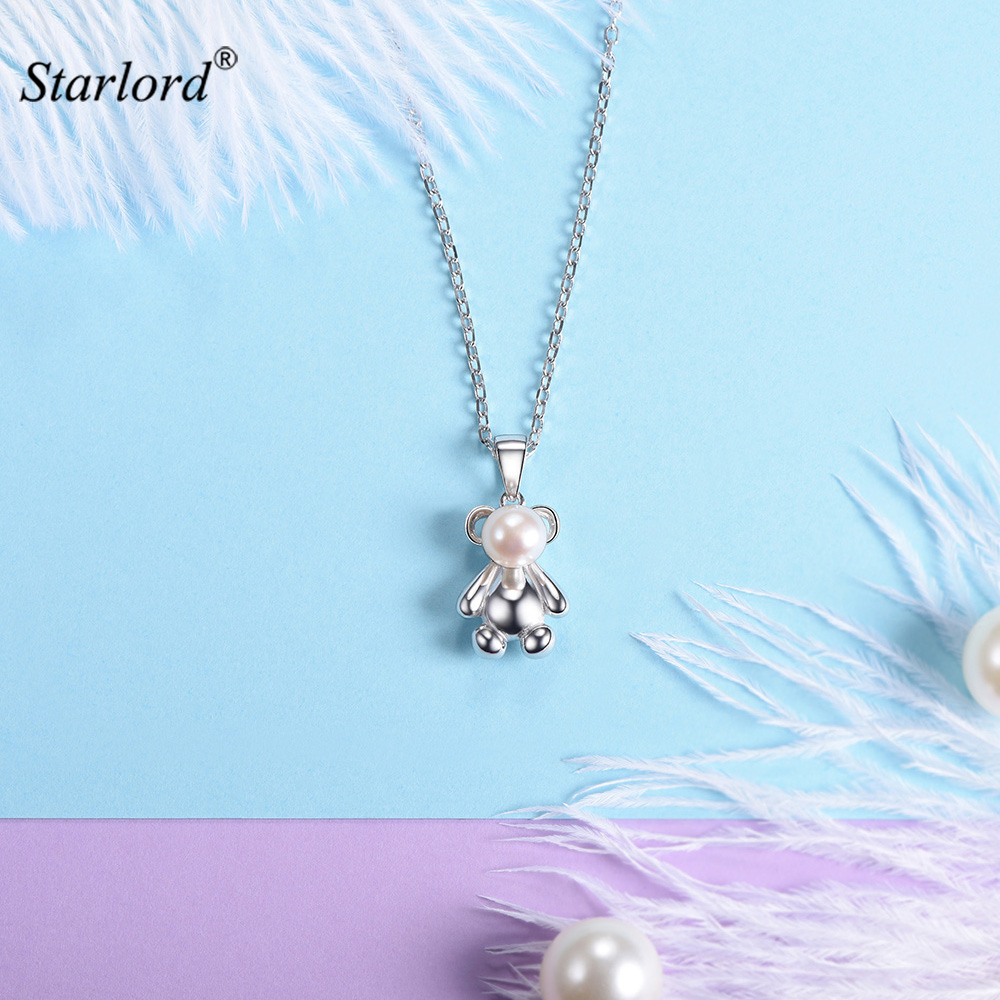 Silver Little Bear Charm Necklace 925 Sterling Silver with Fresh Pearl Lucky Bear Jewelry Cute Bear Gift For Women/Girls P6041B little bear свитер