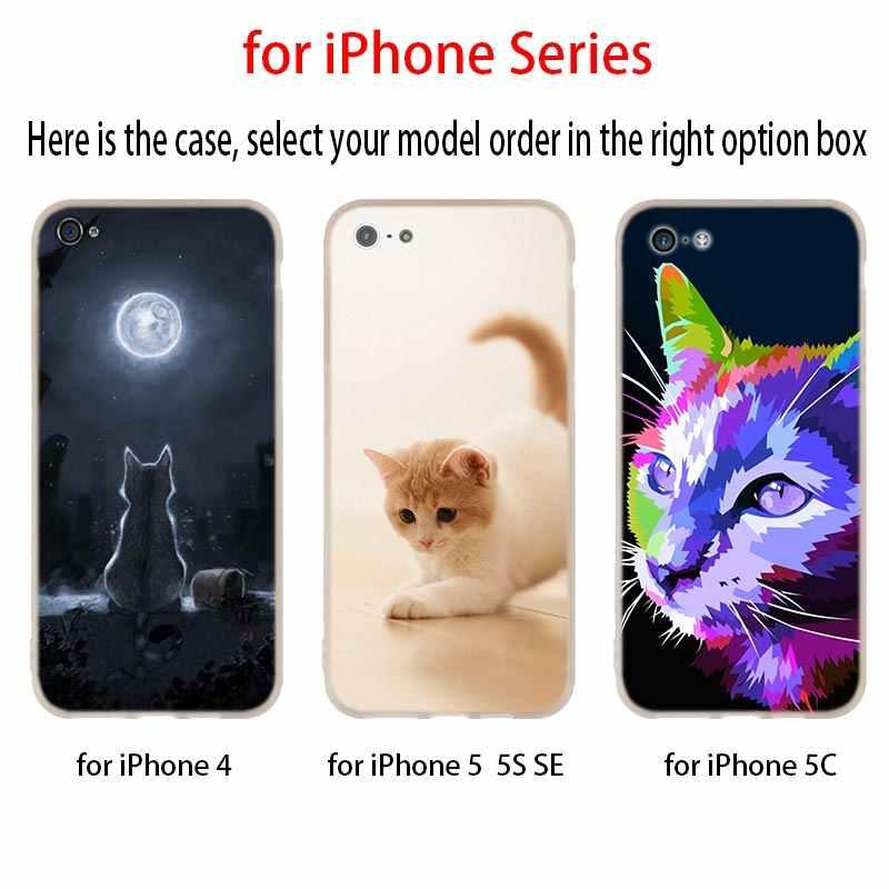 Милый кот котенок рыбки пространство мяу мягкий чехол для телефона iPhone 11 2019 XI R 4 5 5S SE 6 6s 7 8 Plus x XR XS Max чехол