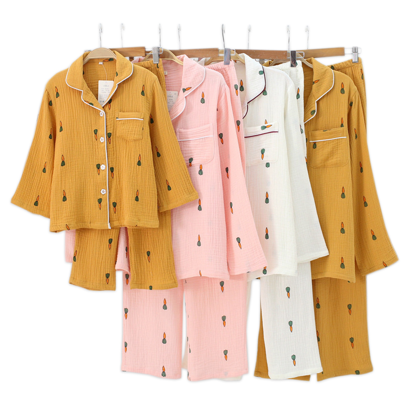 New Cute carrot 100% crepe Cotton family outfits pajamas sets Fresh Mother kids 100% cotton Long sleeve Child sleepwear women