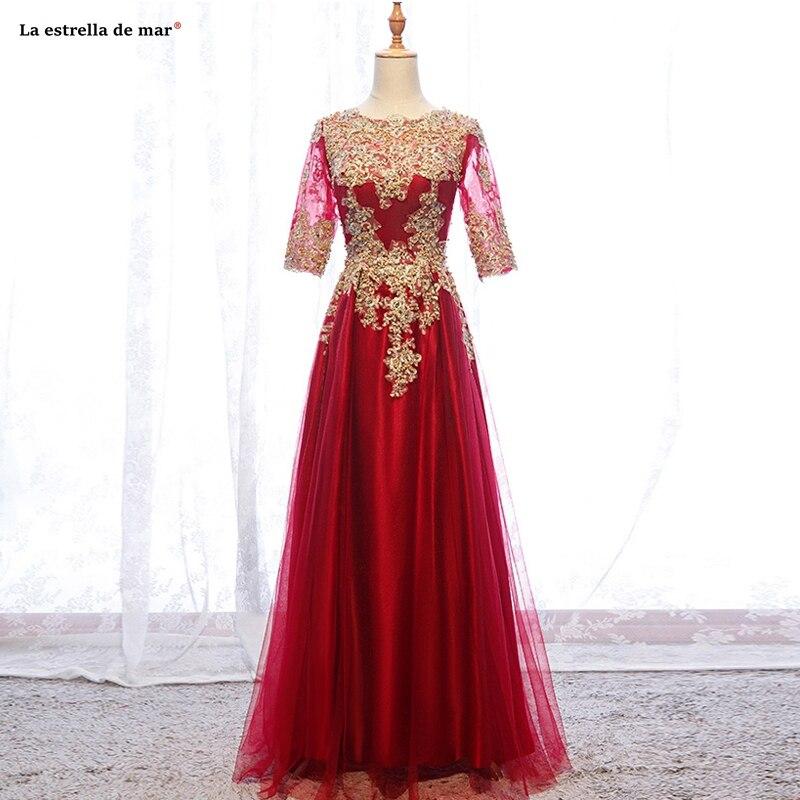 Vestido Madrinha Longo2019 New Scoop Neck Tulle Applique Pearl Half Sleeve Gold Red Wedding Party Dress Real Photo Abiti Damigel