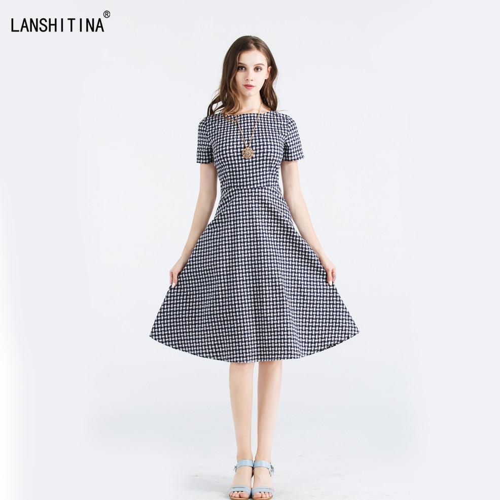 Summer Women Casual Retro Vintage 50s Hepburn Weave Pattern Short Sleeve Swing A Line Dress Rockabilly Elegant Tunic Vestidos In Dresses From Womens