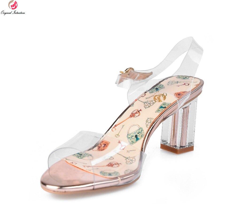 Femmes Bout Nouvelle Mode Femme 8 L'intention Ouvert Us À Sandales Chaussures Pvc Talons Taille Carrés 4 Sexy Initiale Transparent 701 5 qpzz5xtw