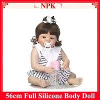 New Full Silicone Body Reborn Doll Bath Baby Realistic Doll Reborn 22 Inch Full Vinyl Boneca Baby Reborn Dolls Dropshipping 048