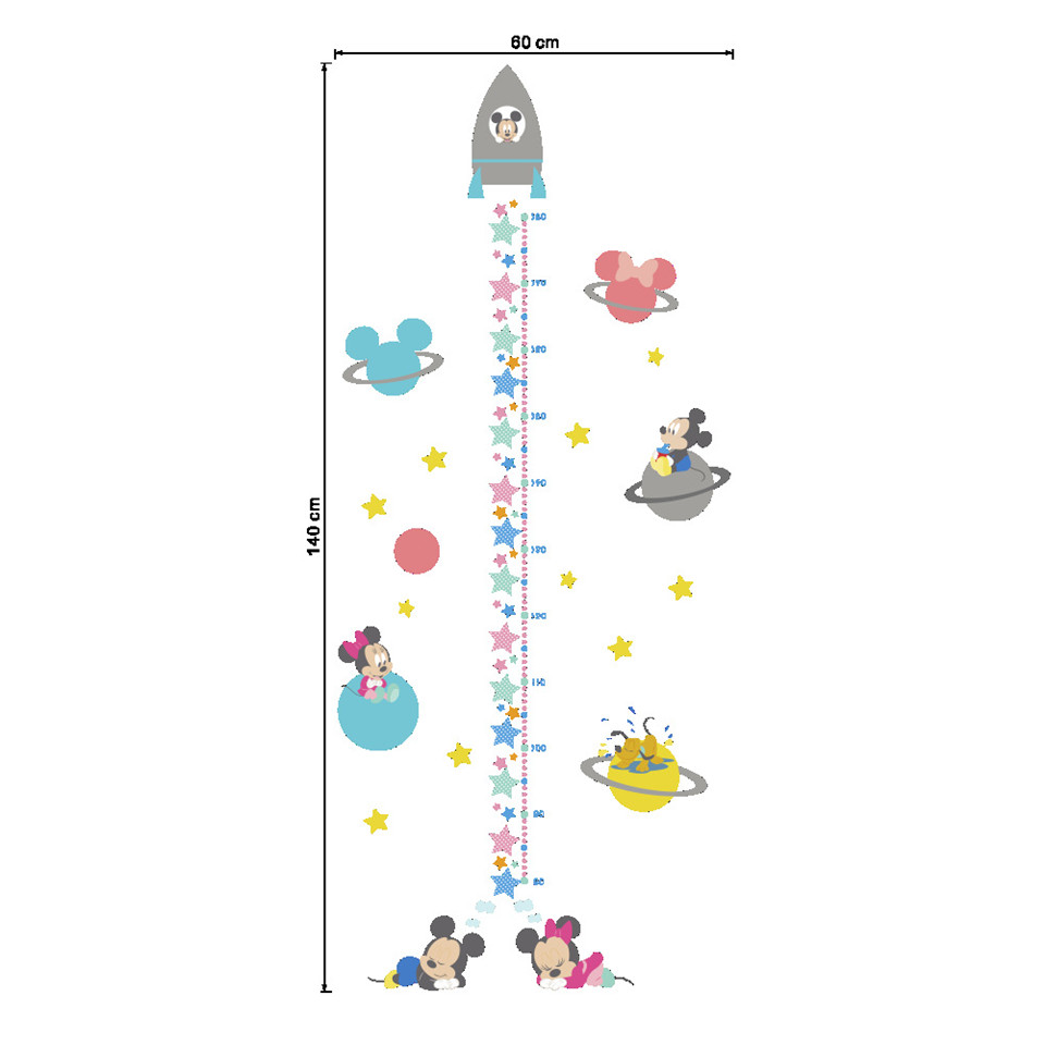Cartoon Rocket Height Measure Wall Stickers For Kids Room Cute Mouse Star Stadiometers Decal Decor Vinyl Self Adhesive Wallpaper in Wall Stickers from Home Garden