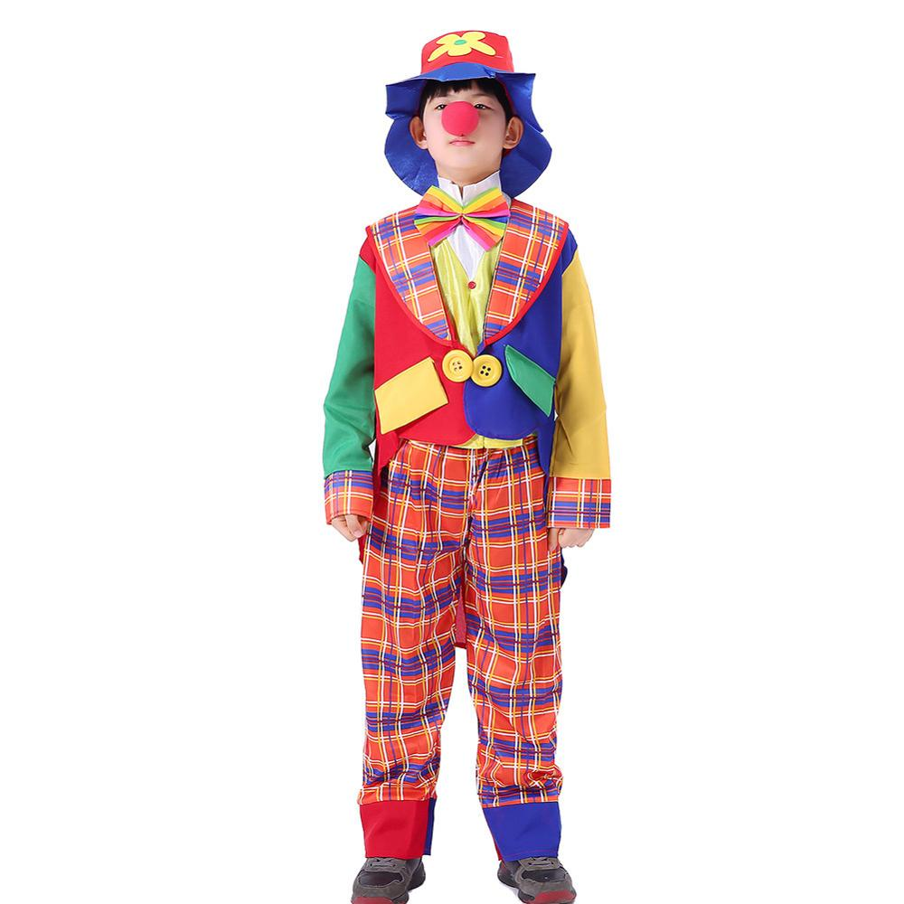Kids Halloween Clown Joker Costume Hat Magician Tuxedo Suit Stage Performance Clothing Boys Girls Fancy Dress for Carnival Party