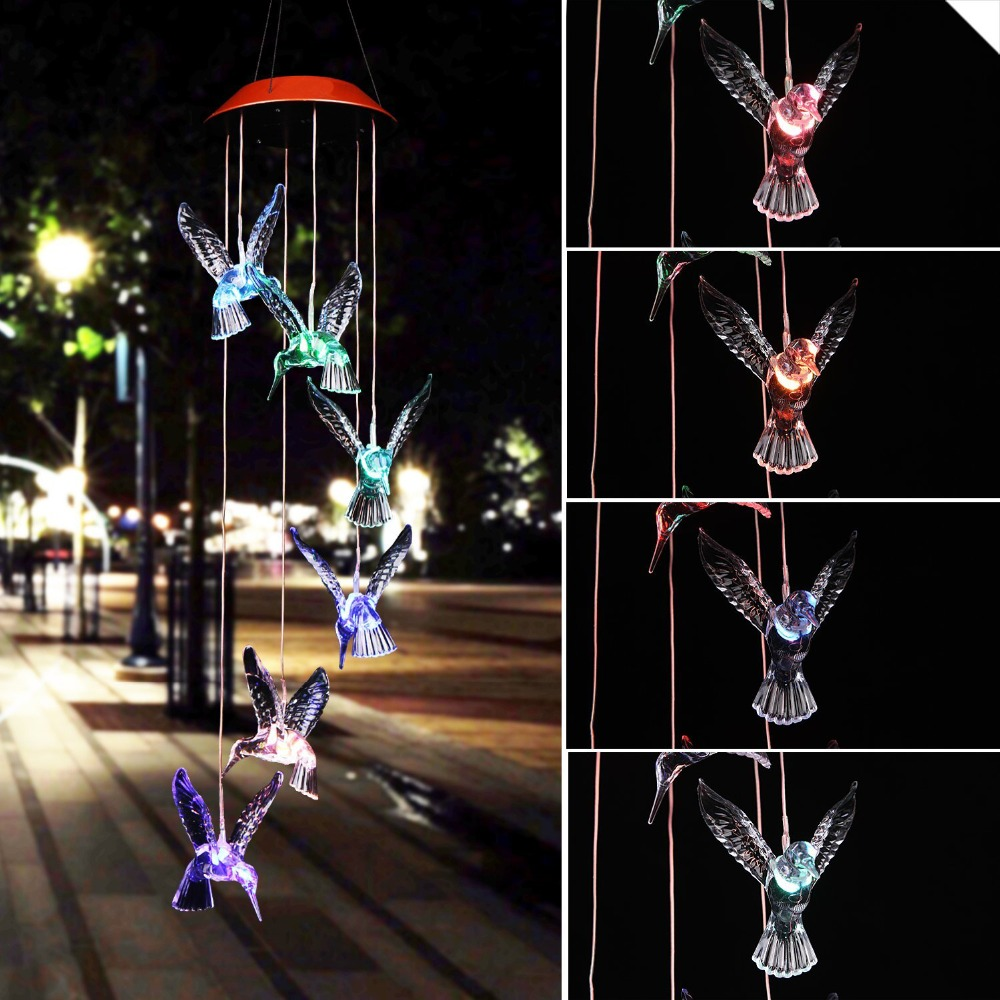Solar Powered LED Wind Chime Waterproof Outdoor Hummingbirds Dragonfly Butterfly Solar Hanging Lights For Garden Party Decoratio