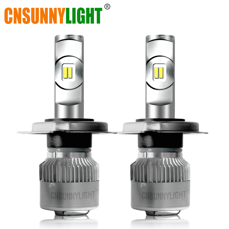 CNSUNNYLIGHT LED Car Headlight H7 H4 H11/H8 H1 9005/HB3 9006/HB4 Real 50W 7600Lm/Pair Turbo Fan Bulbs CSP Headlamp Focus Lights