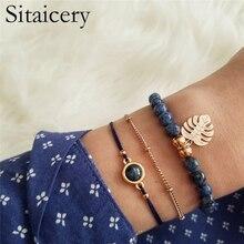 Sitaicery 3 Pcs/set Bangle leaf Blue Crystal Bead Bracelet Women Girl Charm Party Wedding Jewelry Adjustable Summer Set