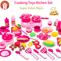 Lovely Too 46pcs Cooking Toys Cutting Fruit Vegetable Food Frying Pan Kitchen Kids Play House Classic Tiny toy Gift For Girls