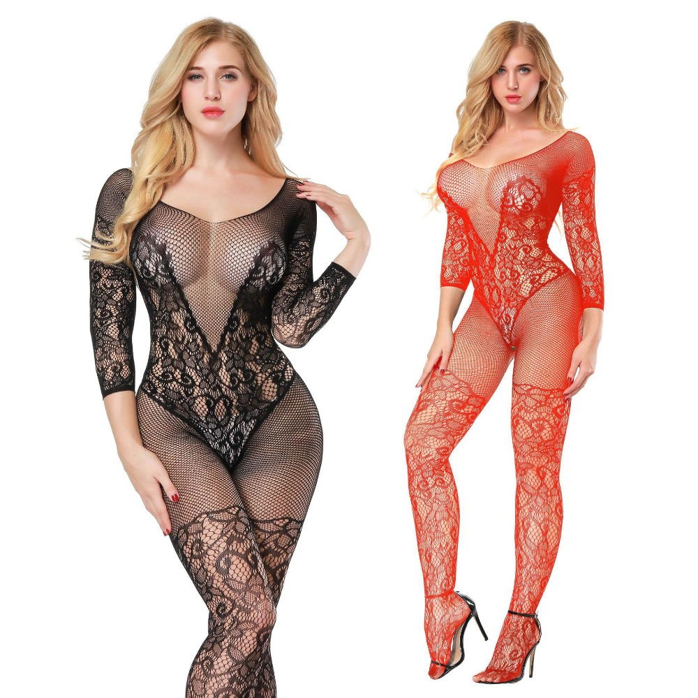 Sexy Erotic Lingerie Intimates Teddy Bodystockings Hollow Open Crotch Stocking Fishnet Mesh Erotic Bodysuit Porn Sleepwear GA236
