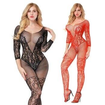 Sexy Erotic Lingerie Intimates Teddy Bodystockings Hollow Open Crotch Stockings Fishnet Mesh Erotic Bodysuit Porn Sleepwear A236 Teddies