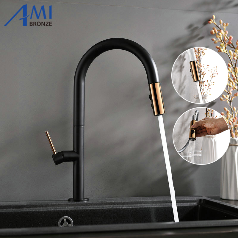 Kitchen Faucets Pull Out Faucet Sink Basin Mixer Tap 360 Swivel 2-Function Black White Brass Faucet Hot Cold Faucets