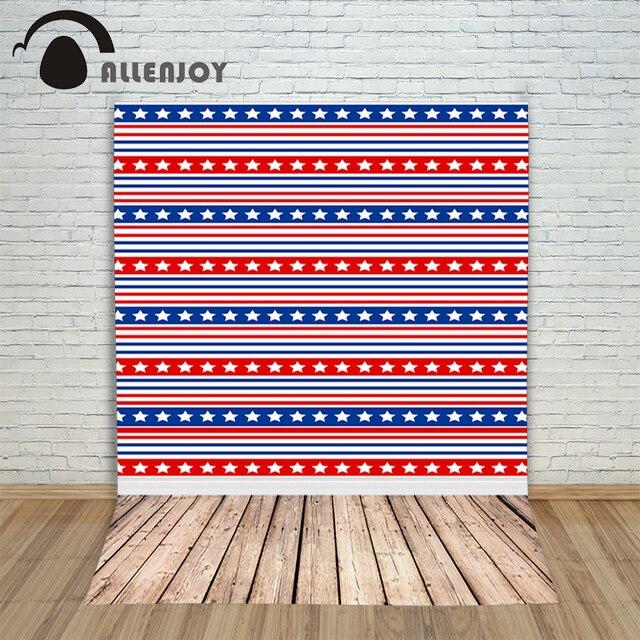 Allenjoy التصوير خلفية بيضاء نجم أحمر أزرق شريط أفقي الخشب صورة المتصل الخلفية للصور الفينيل الخلفيات