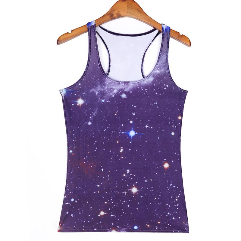 New Lady Sports Tank Tops Women Sexy Sleeveless T Shirt Clothes High Elastic Yoga Running Vests Camisole Sky Digital Print Vests