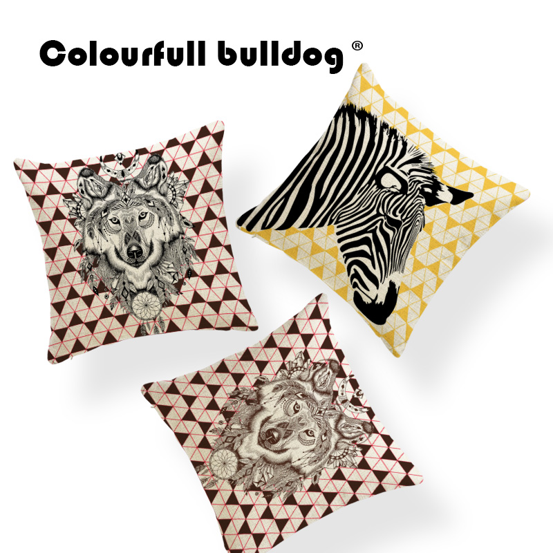 Animal Horse Stripe Cushion Geometry Diamond Pillowcase Baroque Lounger Chair For Living Room Throw Pillow Case 45X45Cm Linen