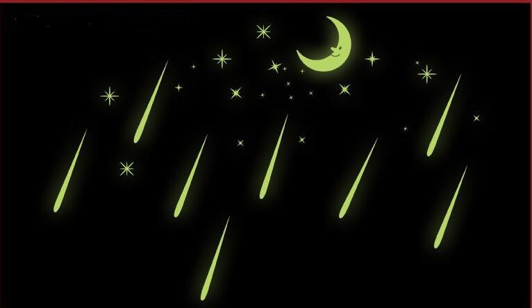 Бесплатная доставка метеорный поток Наклейки на стену Романтический Sky Star Луна настенные наклейки светящиеся Наклейки флуоресценции детск...