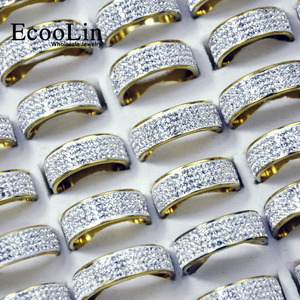 10Pcs EcooLin Brand Gold and Silver Color Sky Stars Full Zircon Stainless Steel Rings For Women Fashion Jewelry Lots Bulk LR4034