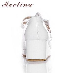 Image 5 - Meotina 큰 사이즈 9 10 신발 여성 펌프 라운드 투 메리 제인 블랙 플랫폼 신발 웨지힐 보우 숙녀 신발 옐로우 화이트