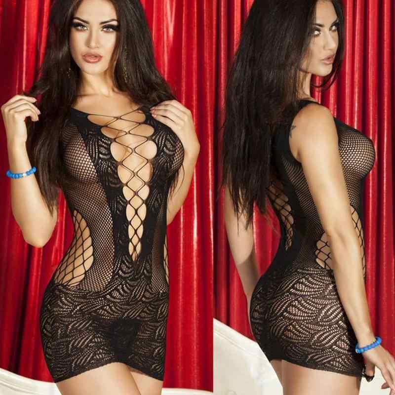 Yeni Kadın Seksi örgü elbise Sıcak Lady Hollow Out Bodycon Paket Kalça Egzotik Elbiseler Gece Kulübü Dansçı Gecelik
