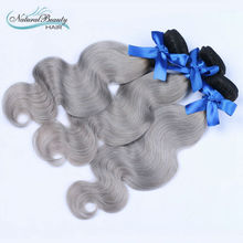 Ombre hair extensions 1b silver grey brazilian hair weave dark root omber grey hair extensions free shipping