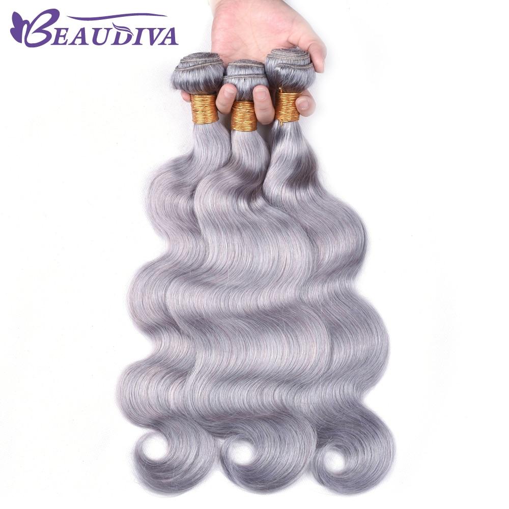 BEAUDIVAGrey Hair Bundles 3PCS Gray Body Wave Brazilian Hair Weave Bundles Remy Human Hair Bundles 100g/pcs