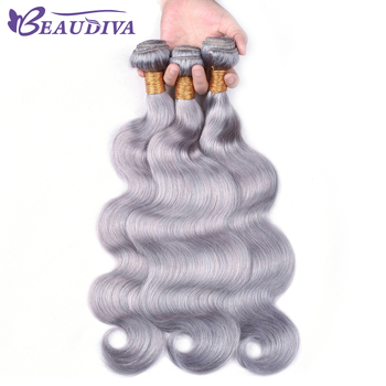 BEAUDIVAGrey Hair Bundles 3PCS Gray Body Wave Brazilian Hair Weave Bundles Remy Human Hair Bundles 100g/pcs